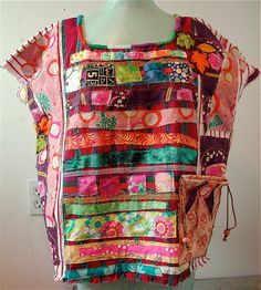 Upcycled Wearable FOLK ART Collage Woven Ethnic Top by MyBonny of Etsy