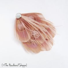 TEARDROP Maggie  Blush Pink Peacock Feather by TheHeadbandShoppe, $24.00