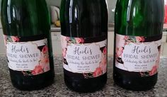 Personalised bridal shower champagne etiquettes