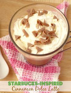 Starbucks-Inspired Cinnamon Dolce Latte Recipe - save $$$ by making your own Starbucks coffee at home! Get the #recipe here: http://pinkrecipebox.com/starbucks-inspired-cinnamon-dolce-latte/