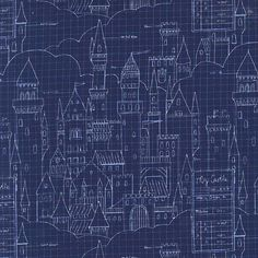 Michael Miller Sarah Jane Magic Castle Plans Navy from Designed by Sarah Jane for Michael Miller Fabrics, this whimsical collection is perfect for quilting, home decor accents and apparel. Colors include navy and white. Nursery Fabric, Wall Fabric, Michael Miller Fabric, Made In Japan, Modern Fabric, Fabric Patterns, Planer, Navy And White, Fabric Design