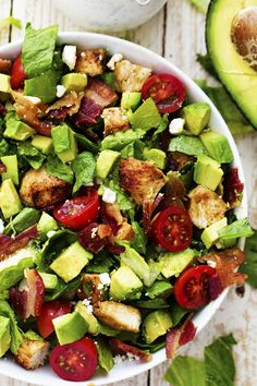 Avocado, Chicken and Bacon Chopped Salad with a Creamy Basil Dressing - This is one of the best salads you will ever eat!