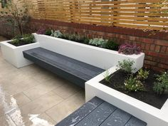Composite Millboard deck benches with raised planters. Small Patio Design, Backyard Patio Designs, Modern Backyard, Small Backyard Landscaping, Terrace Garden Design, Back Garden Design, Modern Garden Design, Garden Sitting Areas, Outdoor Gardens