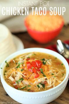 Dinner is ready in a flash with Instant Pot Chicken Taco Soup Recipe. Try this easy Chicken Taco Soup Pressure Cooker Recipe for a quick meal idea.~ Omit the beans or just add to whoever wants some. Healthy Soup Recipes, Easy Dinner Recipes, Cooking Recipes, Dinner Ideas, Dessert Recipes, Instant Pot Pressure Cooker, Pressure Cooker Recipes, Chicken Taco Soup, Chicken Recipes