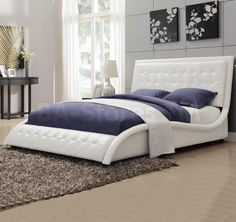 Looking for A Line Furniture Modern Style Wave Design White Upholstered Bed King ? Check out our picks for the A Line Furniture Modern Style Wave Design White Upholstered Bed King from the popular stores - all in one.