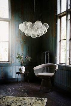 rustic blue walls with modern hoem furnishings. / sfgirlbybay