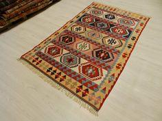 "Turkish Vintage Kilim Rug 3'3"" x 5'6"" Decorative Kilim Rug Wool Kilim Rug Bohemian Kilim Rug Turkey Kilim Rug"