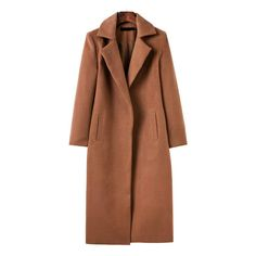 Brown Lapel Neck Pocket Long Coat (175 BRL) ❤ liked on Polyvore featuring outerwear, coats, long lapel coat, pocket coat, lapel coat, longline coat and brown coat