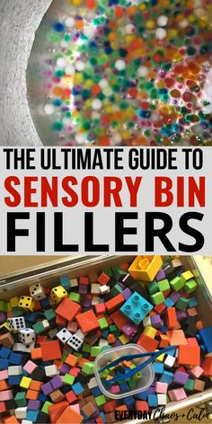 Sensory bins are perfect for kids to explore using their senses. But what you do you pin in your sensory bins? Here's the ultimate list of sensory bin fillers to fill your bins for the best sensory play experience! Toddler Sensory Bins, Sensory Tubs, Sensory Activities Toddlers, Sensory Boxes, Sensory Diet, Rainy Day Activities, Baby Sensory, Infant Activities, Sensory Play