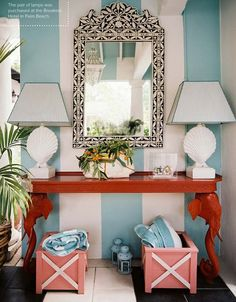 striped ceiling? coral and teal