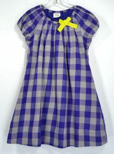 Mini Boden Girls Purple and Grey Cotton Dress Size 7 8 Years