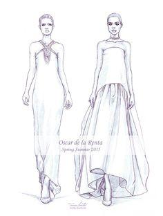 "Fashion Drawing ""Oscar de la Renta SS fashion illustration by Tania Santos - Fashion Design Sketchbook, Fashion Illustration Sketches, Fashion Design Drawings, Fashion Sketches, Illustrations, Fashion Figure Drawing, Fashion Drawing Dresses, Fashion Painting, Fashion Art"