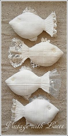 Cottage Charm ~ Lace and Buttons ~ Cream ~ Fabric Fishes