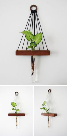 This modern hanging wall shelf is made from reclaimed wood, has a ledge to display a little trinket and a bud vase for a flower.