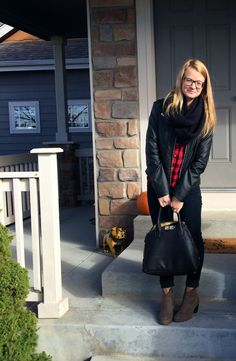 Sweet Bananie - not what I wore for Thanksgiving: buffalo plaid, leather jacket, skinnies + booties, scarf + black bag #buffaloplaid