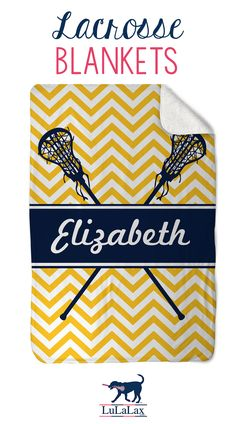 """Cuddle up with a super-soft #lacrosse sherpa fleece blanket! Each 40"""" X 60"""" blanket has a plush faux lambswool sherpa backing and an exclusive #lulalax design on the front."""