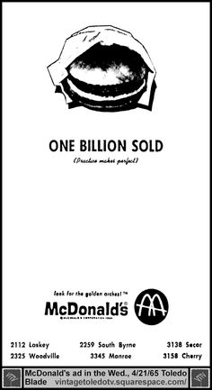 Vintage Toledo TV - Other Vintage Print Ads - McDonald's: One Billion Sold (Wed 4/21/65 ad)