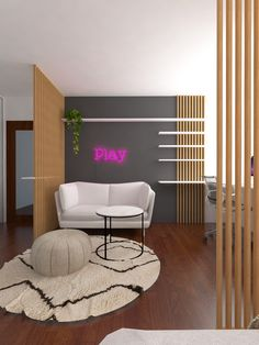 Redesign of teenage girl room. Aesthetic style. Neon pink sign. Aesthetic Style, Aesthetic Rooms, Aesthetic Fashion, Girl Room, Neon, Projects, Pink, Furniture, Design