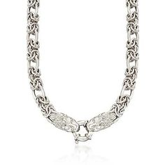 Ross-Simons - Sterling Silver Byzantine and Oval Link Necklace With Lion's Head Clasp - #797497