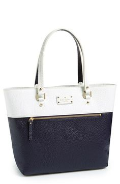 navy white leather kate spade tote