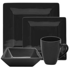This 16-piece Black Square Dinner Set will have you throwing a proper soiree in no time. Dishwasher and oven safe up to 500 degrees Fahrenheit, this set includes dinner plates, salad plates, soup bowls, and cups with service for four.