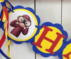 Curioso George feliz cumpleaños banner por MerryMakersPapier