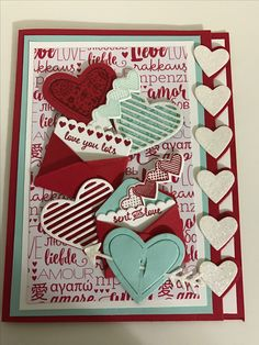 Stampin' Up Sealed with love stamp set and matching Love notes framelits...