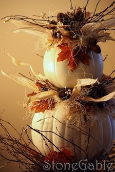 Pumpkin Topiary Tutorial Love it and Love the white pumpkins! Thanksgiving Decorations, Halloween Decorations, Holiday Decor, Pumpkin Decorations, Thanksgiving Ideas, Christmas Ideas, White Pumpkins, Fall Pumpkins, Pumpkin Topiary