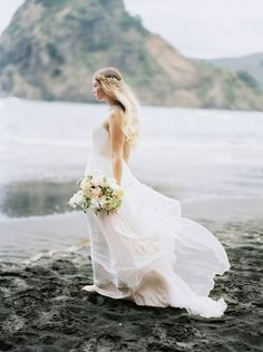 Ethereal bridal shoot on a black sand beach in New Zealand via Magnolia Rouge