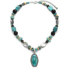 Genuine Turquoise & Multi-Stone Necklace ($96) found on Polyvore