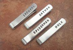 Party of 4 - Superhero Personalized Aluminum Tie Bar / Tie Clip - Wedding Party - Groomsman Gift