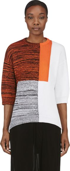Damir Doma - Orange Colorblocked Marled Knit Kashan Sweater