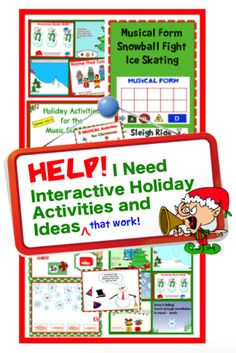 6+ interactive holiday activities ideas for IWB and more.  Kid-tested winners for the Holiday season. Video examples. Ready to use. Engaging activities. Learning that makes a memory. Free download and links to TpT store. www.cphmusic.net