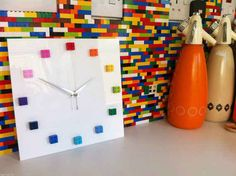 MonkiStuff Designed Clocks Our own handmade clocks available in different colours Sleek design and gloss finished thick face with LEGO® Deco Lego, Lego Office, Lego Bathroom, Deco Gamer, Lego Decorations, Handmade Clocks, Unique Clocks, Lego Wall, Home Decor