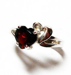 Garnet ring garnet heart ring birthstone ring by Michaelangelas, $49.99
