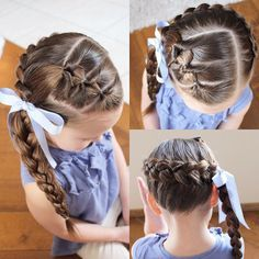"""3 flip throughs with a pancaked dutch braid wrapped around the head into a braided ponytail."""