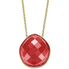 Faceted Red Agate Pentagon Necklace