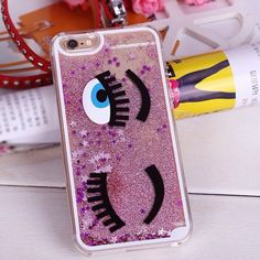 Glitter iphone 6 case Unique glitter blinking wink big eyes iphone 6 hard case new in package Accessories Phone Cases