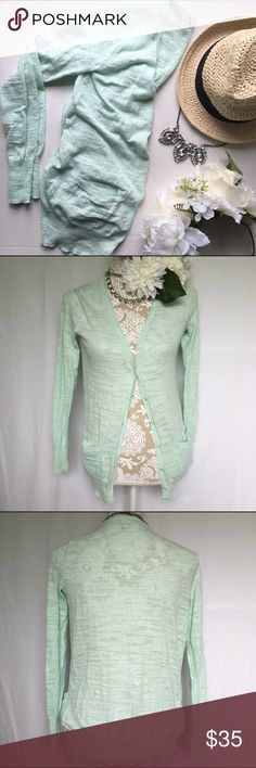 J. Crew // Factory Airspun Cardigan - mint Enjoy summer in this Airspun Cardigan from J. Crew Factory. Lightweight with a little bit of texture. Mint color almost a very light blue. Hits at hip for a longer length. Has been worn but still in great condition. J. Crew Sweaters Cardigans