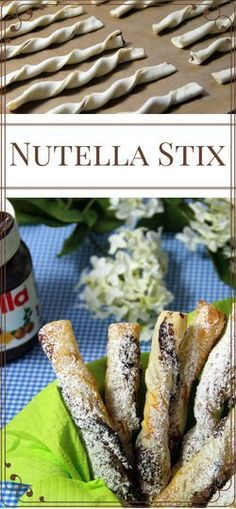 Nutella sticks simple and delicious! Also with gluten-free dough! Nutella sticks simple and delicious! Also with gluten-free dough! Snacks Für Party, Easy Snacks, Easy Healthy Recipes, Easy Meals, Vegetarian Recipes, Biscuit Nutella, Fingers Food, Cake Recipes, Dessert Recipes