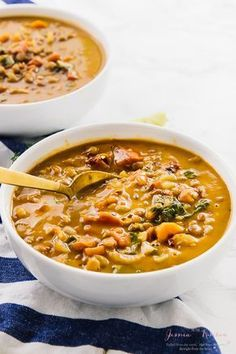 This Easy Lentil Soup is loaded with delicious spices and very simple to put together. It tastes wonderful alone or as a side dish and is vegan, gluten free and loaded with whole food ingredients. via jessicainthekitchen.com