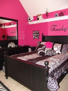 Pink And Black Teen Zebra Bedroom   Bedroom Designs   Decorating Ideas    Rate Myu2026