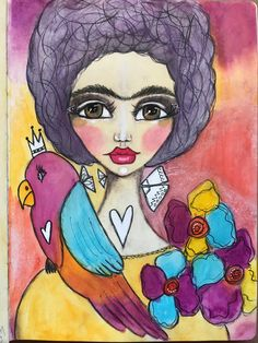 Life Book 2017 ~Be Like Frida with Tamara Laporte @willowing.org. Neo color ll, color pencil, paint pen
