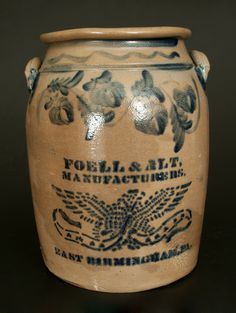 Lot 232. Exceptional Stoneware Eagle Crock, FOELL