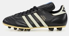 the collection shows a selection of adidas classic football cleats from the last 50 years including franz beckenbauer and david beckham's signature models. Puma Football Boots, Adidas Soccer Shoes, Adidas Boots, Soccer Boots, Adidas Football, Football Cleats, Soccer Gear, Sports Footwear, Vintage Football