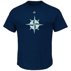 Seattle Mariners Majestic Youth Mesh Logo T-Shirt - Navy