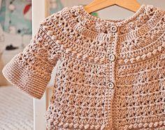 Crochet PATTERN  Flutter Sleeve Shrug  Cardigan sizes baby
