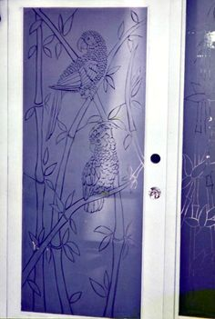 Etched Glass, Glass Etching, Sand Glass, Glass Art, Glass Walls, Parrot, Bamboo, Curtains, Doors
