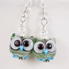 Green Owl Lampwork Bead Earrings by maybeads on Etsy