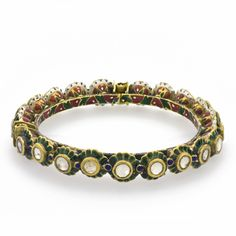 A Diamond Flower Bracelet  North India  18th Century  Diameter: 7cm    A rigid gold bracelet set with flowers each raised from the body and set with flat-cut diamonds. Each flower has blue enamel decoration surrounding the diamonds and red and green enamelling on the interior.
